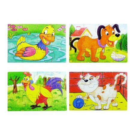 Fa puzzle kacsával 4 játék 1 fa dobozban