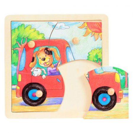 Fa puzzle - Fogantyús puzzle (4 db-os, autós)
