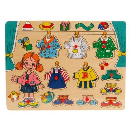 Fa puzzle - fogantyús lapöltöztető (lányos)