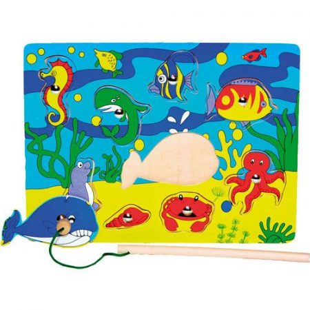 Mágneses horgász fa puzzle csikóhalas
