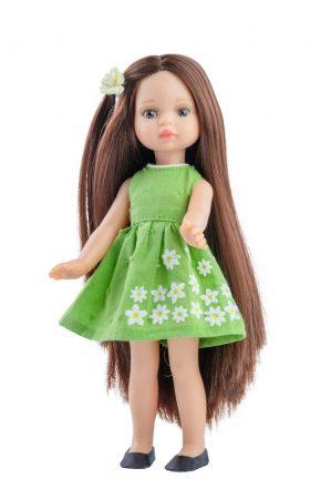 Játék hajasbaba Estela zöld virágos ruhában 21cm Paola Reina
