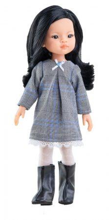 Játék hajasbaba Liu szürke ruhában 32cm Paola Reina