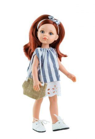 Játék hajasbaba Cristi csíkos nyári ruhában 32cm Paola Reina