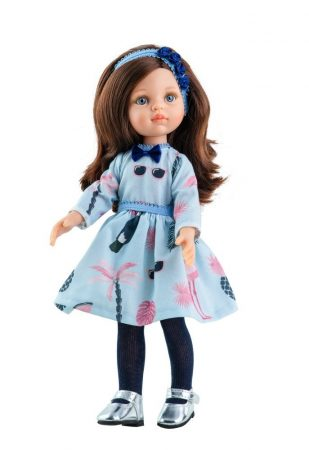 Játék hajasbaba Carol kék nyári ruhában 32cm Paola Reina