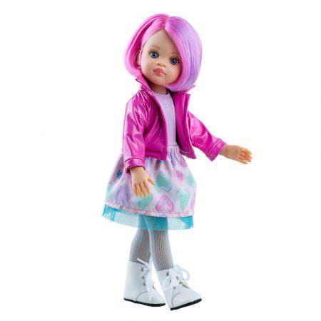 Játék hajasbaba Noelia rózsaszín kabátban 32cm Paola Reina
