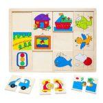 Fa Puzzle - párpsító játék járműves