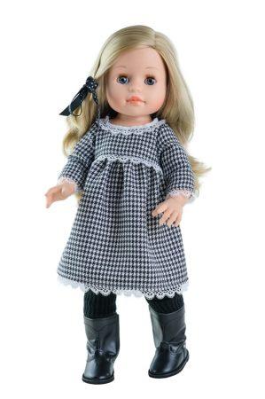 Játék hajasbaba Emma Soy Tu kockás ruhában 42cm