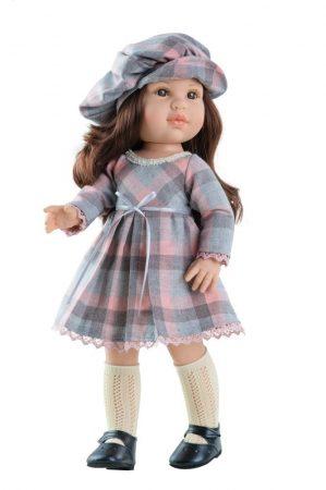 Játék hajasbaba Ashley Soy Tu kockás ruhában 42cm