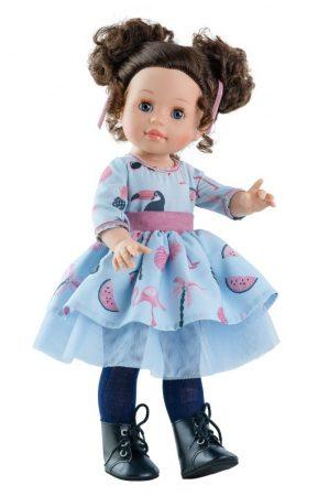 Játék hajasbaba Emily Soy Tu nyári mintás ruhában 42cm