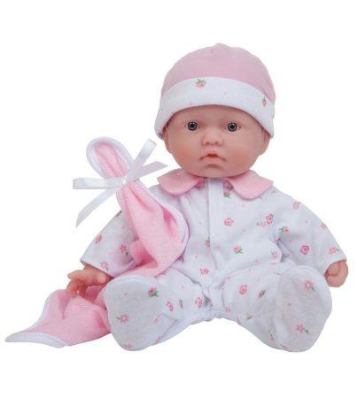 Berenguer Élethű játékbaba újszülött puhatestű baba,  virágos pizsamában, 28 cm