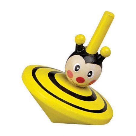 Pörgettyű állatfejes (méhecske) fa játék