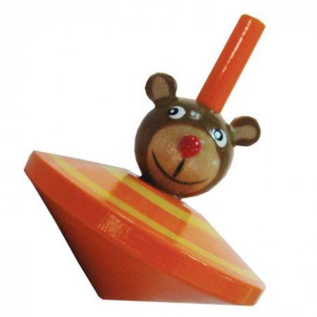 Pörgettyű állatfejes (maci narancs) motorikus készségfejlesztő fa játék