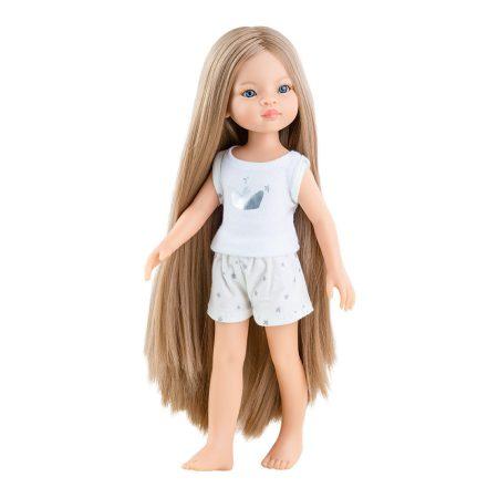 Játék hajasbaba Manica pizsamában extra hosszú hajjal 32cm Paola Reina