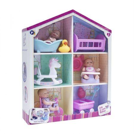 Berenguer játékbabák házikóban kiegészítőkkel