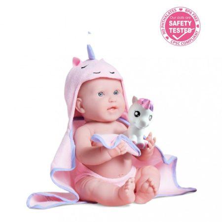 Berenguer Élethű játékbaba lány rózsaszín fürdőköpenyben, Unikornissal, 43cm