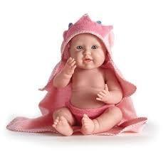 Játékbaba nagykereskedés -  Berenguer újszülött lány rózsaszín fürdőköpenyben 43 cm