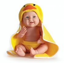 berenguer-Ültethető fiú karakterbaba sárga kacsás fürdőlepedőben 43 cm
