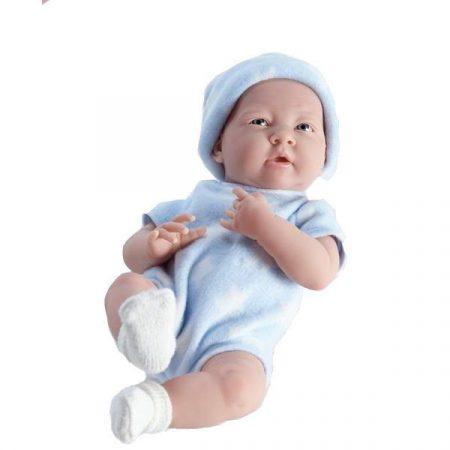 Berenguer újszülött  élethű fiú játékbaba kék csillagos ruhában 38cm