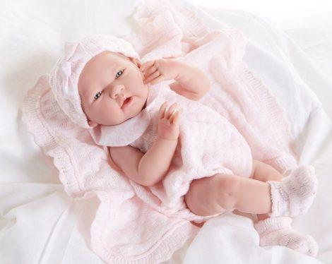 Játékbaba nagykereskedés -  Berenguer újszülött lány rózsaszín kötött ruhában és sapkában 38 cm