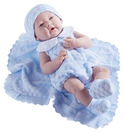Játékbaba nagykereskedés- Élethű Berenguer Játékbabák- Újszülött fiú luxus baba kék kötött ajándék t
