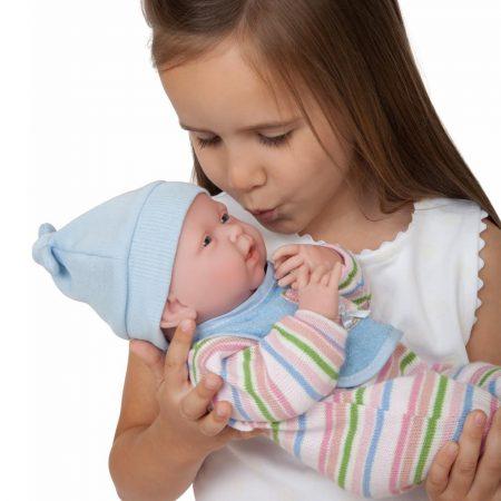 Berenguer anatómiailag hiteles fiú baba csíkos pizsamában Nino