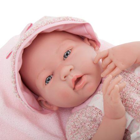 Berenguer élethű játékbaba rózsaszín kötött ruhában és sapkában 38m