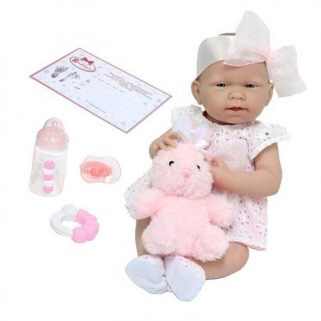 Berenguer élethű karakter játékbaba lány rózsaszín ruhában nyuszival 38cm