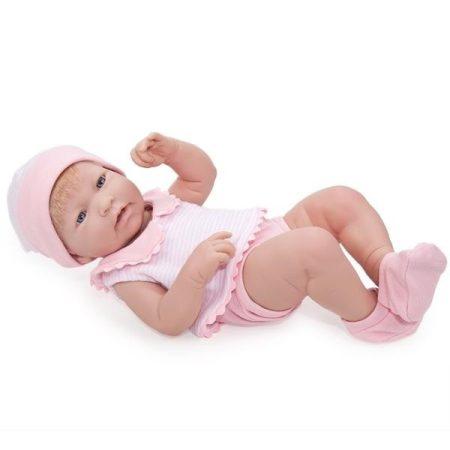 Berenguer élethű lány játékbaba szőke hajjal rózsaszín ruhában 43cm kifutó