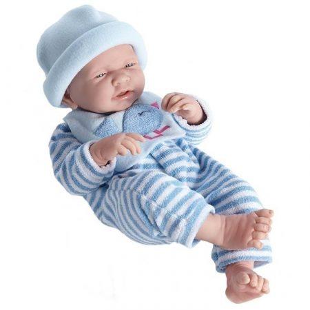 Berenguer élethű játékbaba csíkos kék  ruhában sapkával 43cm