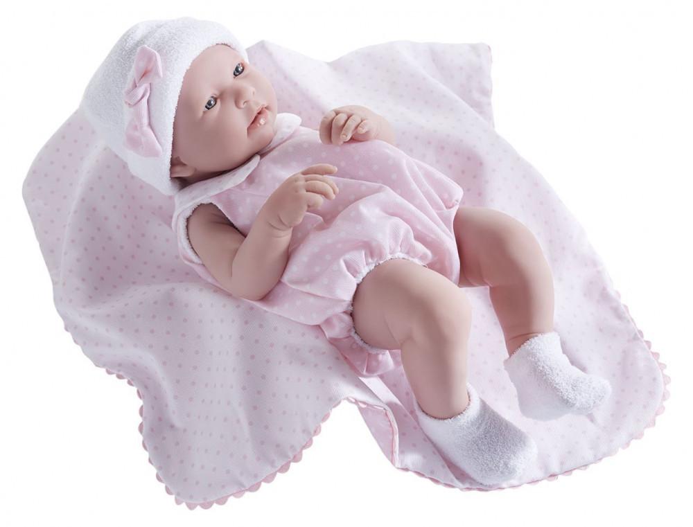 Berenguer újszülött élethű játékbaba pöttyös rózsaszín ruhában takaróval  43cm 64c6bbf690