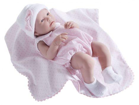 Berenguer újszülött élethű játékbaba pöttyös rózsaszín ruhában takaróval 43cm