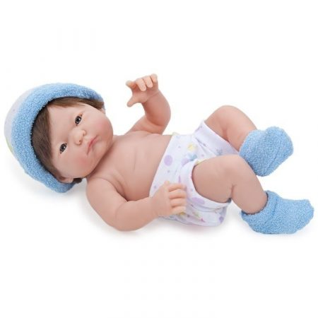 Berenguer újszülött fiú karakterbaba kék sapkában 24cm