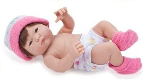 Berenguer újszülött lány karakterbaba pink sapkában 24cm