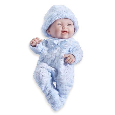 Élethű Berenguer Játékbabák - újszülött fiú kék kötött ruhában sapkával 24cm