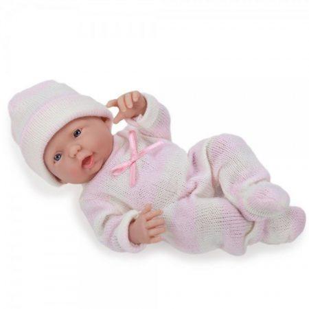 Játékbaba nagykereskedés- Élethű Berenguer Játékbabák- Újszülött lány rózsaszín csíkos ruhában sapká