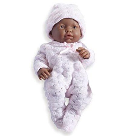 Berenguer élethű játékbaba - néger, rózsaszín ruhában, lány 24 cm