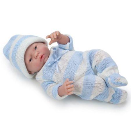 Élethű Berenguer Játékbabák - újszülött fiú kék csíkos kötött ruhában sapkával 24 cm
