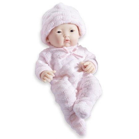Élethű Berenguer Játékbabák - újszülött lány rózsaszín csíkos kötött ruhában sapkával 24 cm
