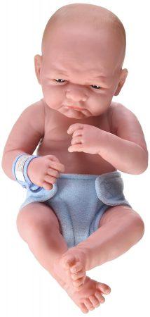 Berenguer élethű karakter játékbaba fiú kék pelenkával 36cm