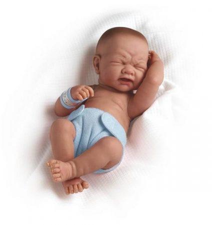 Berenguer újszülött élethű fiú játékbaba kék pelenkával 36cm