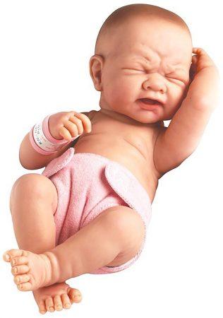 Berenguer Újszülött síró lány karakterbaba rózsaszín pelenkával 36cm