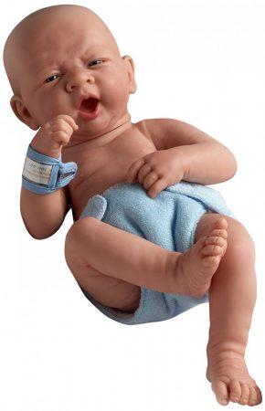 Játékbaba nagykeresdedés - Berenguer újszülött fiú karakterbaba kék pelenkával