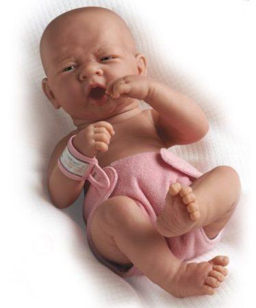 Játékbaba nagykereskedés -  Berenguer újszülött lány karakterbaba rózsaszín pelenkával