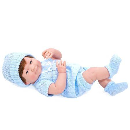Berenguer Újszülött fiú karakterbaba kék kötött ruhában és sapkában 38cm