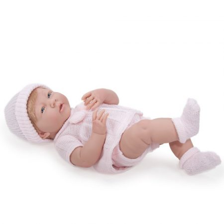 Berenguer Újszülött lány karakterbaba rózsaszín kötött ruhában és sapkában 38cm