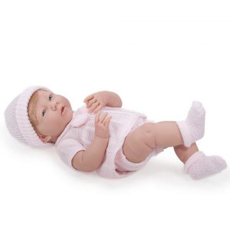 Berenguer Újszülött lány karakterbaba rózsaszín kötött ruhában és sapkában 38cm kifutó