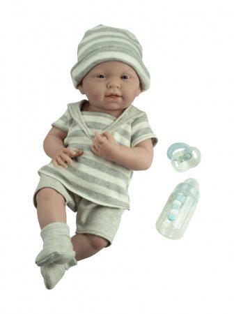 Berenguer Nino élethű játékbaba újszülött fiú, csíkos ruhában, kiegészítőkkel, 38 cm