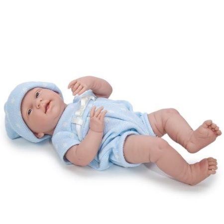 Berenguer mosolygós élethű játékbaba kék pöttyös ruhában 38cm
