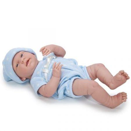 Berenguer mosolygós élethű játékbaba kék pöttyös ruhában 38cm kifutó