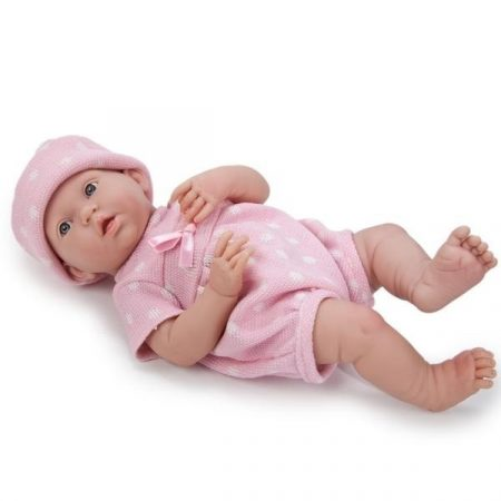 Berenguer mosolygós élethű játékbaba rózsaszín pöttyös ruhában 38cm kifutó
